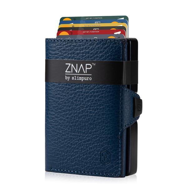 ZNAP Slim Wallet Genarbt Hellblau 8er