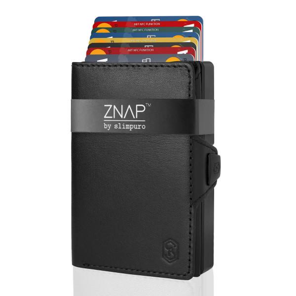 ZNAP Slim Wallet Glattleder Black 12er