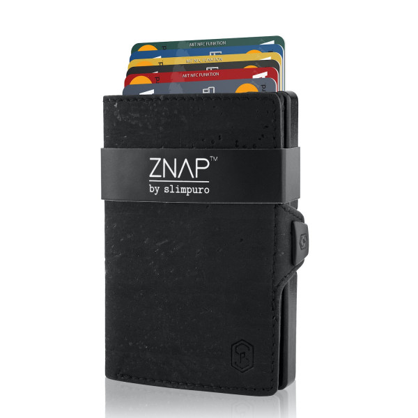 ZNAP Slim Wallet Kork Schwarz 8er
