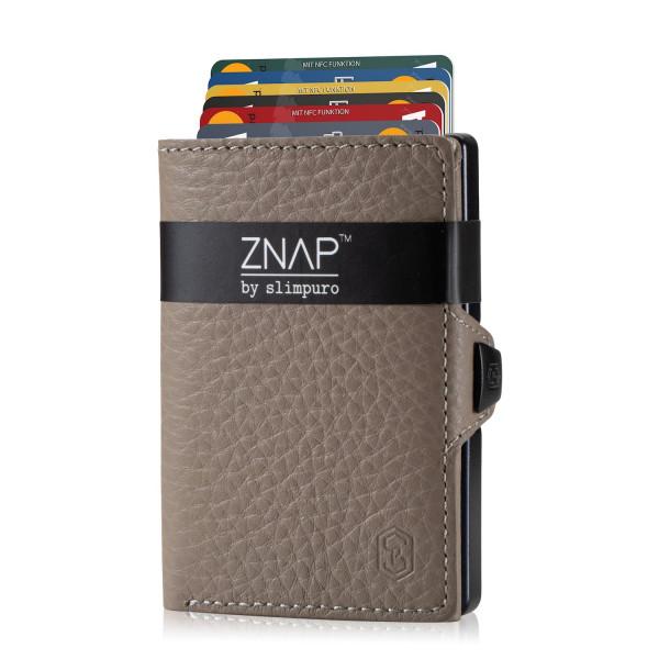 ZNAP Slim Wallet Genarbt Taupe 8er