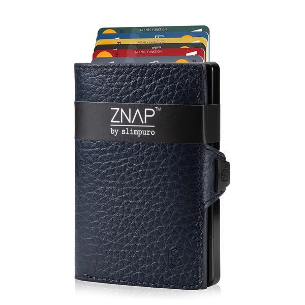 ZNAP Slim Wallet Genarbt Dunkelblau 12er