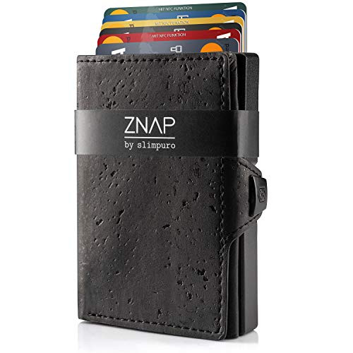 ZNAP Kreditkartenetui schwarz (Korkleder) Neuheit von Slimpuro