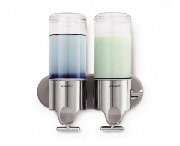 Doppelspender 450 ml, Transparent/Silber Edelstahl