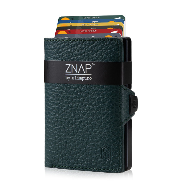 ZNAP Slim Wallet Genarbt Dunkelgrün 12er